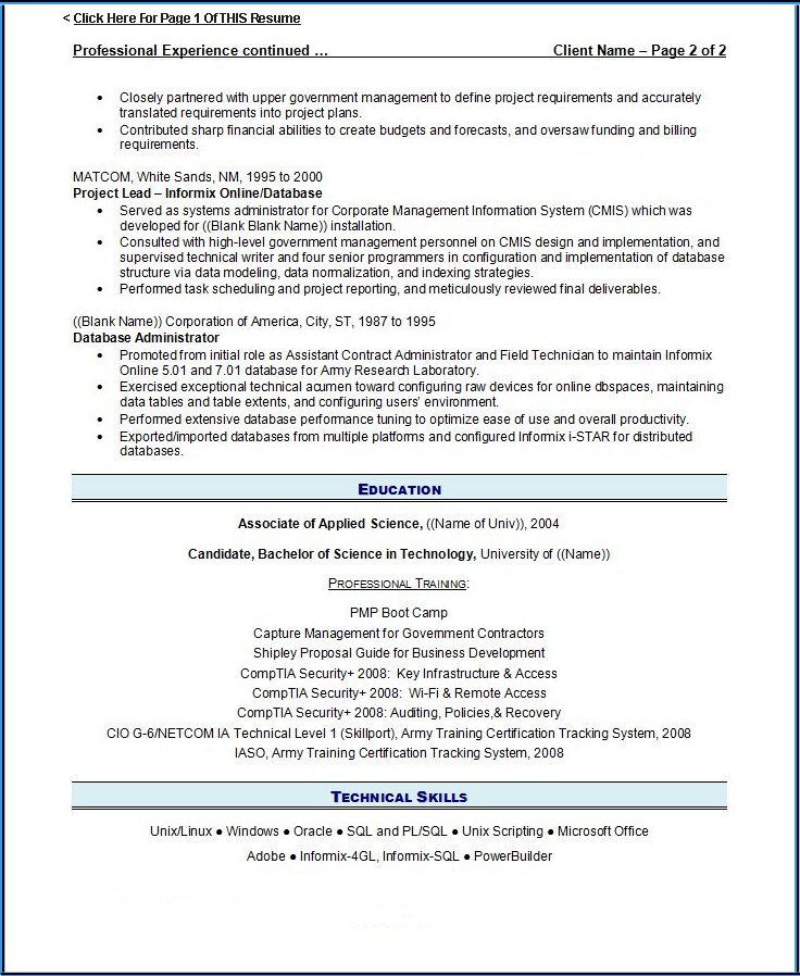 2 page resume example